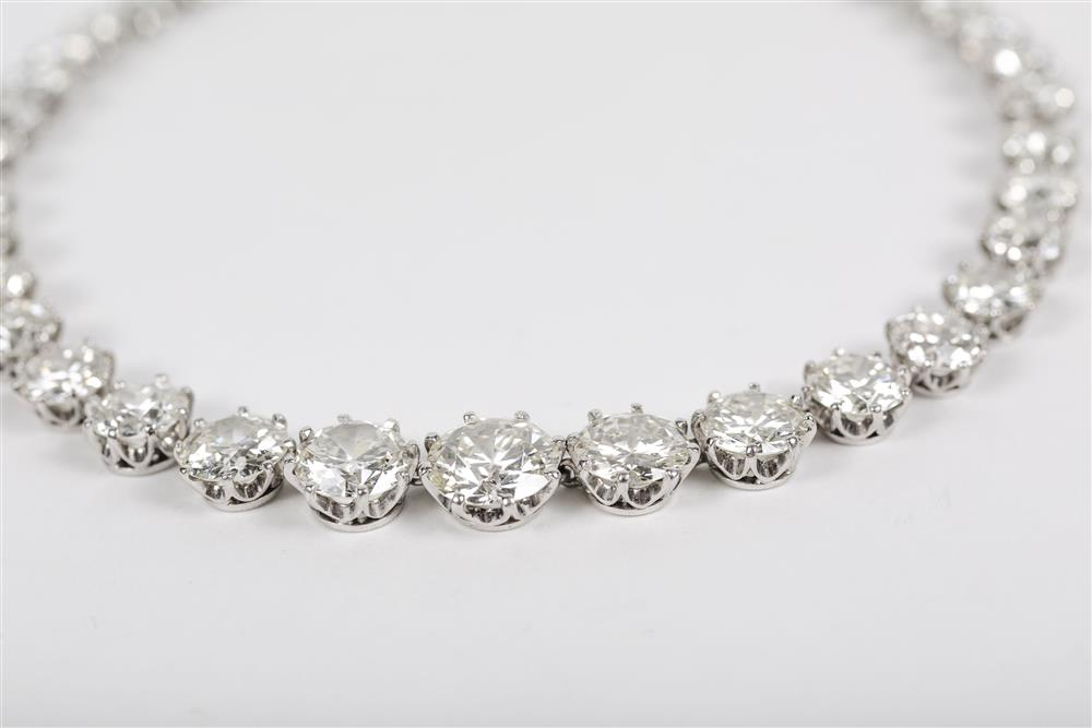 Van Cleef & Arpels Platinum and Diamond Riviere Necklace, Sold at Grogan & Co.