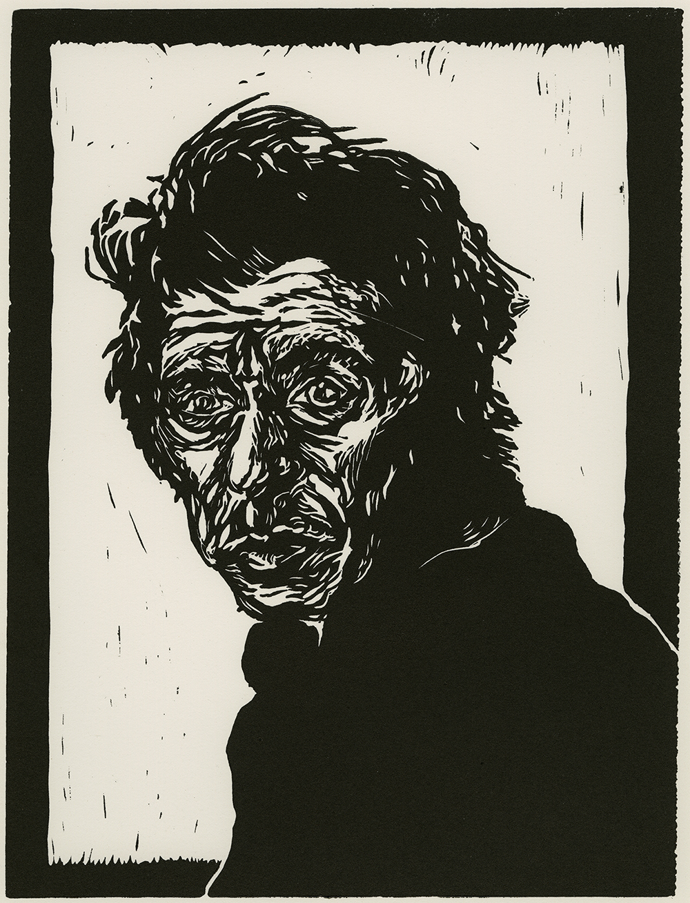 Wrinkled Thoughts by Joelle Mentis; The Rivers School; Linoleum Print; 9″ x 12″
